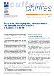 Écrivains, photographes, compositeurs… les artistes auteurs affiliés à l'AGESSA en 2005
