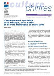 L'enseignement spécialisé de la musique, de la danse et de l'art dramatique en 2005-2006