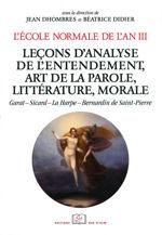 L'École normale de l'an III. Vol. 4, Leçons d'analyse de l'entendement, art de la parole, littérature, morale