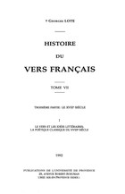 Histoire du vers français. Tome VI