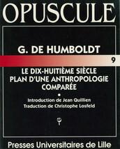 G. de Humboldt, Le dix-huitième siècle, Plan d'une anthropologie comparée
