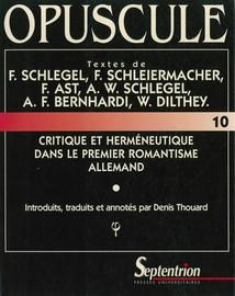 F. Schleiermacher: Sur le concept et la division de la critique philologique (1830)